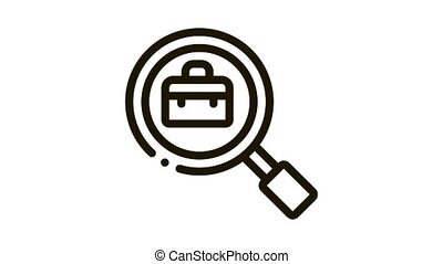 Suitcase In Magnifier Glass Job Hunting animated black icon on white background
