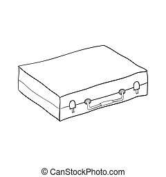 Suitcase isolated minimal single flat linear icon for application
