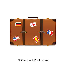 Suitcase Isolated on White with Traveling Flags