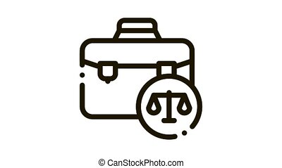 Suitcase Law And Judgement animated black icon on white background