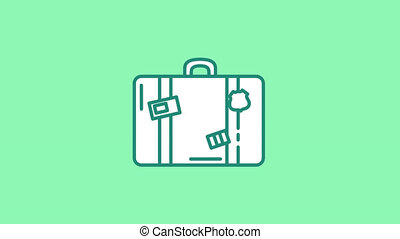 Suitcase line icon is one of the Travel and Landmarks icon set. File contains alpha channel. From 2 to 6 seconds - loop.