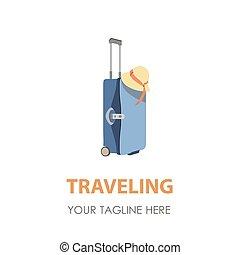 Suitcase logo travel icon vector illustration symbol bag design tourism business vacation