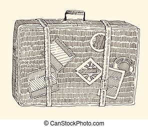 Suitcase Luggage Engraved Retro Hand Drawn Sketch - Suitcase...