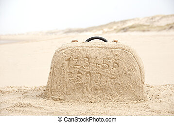 Suitcase made out of sand with numbers