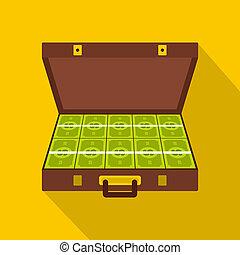 Suitcase money icon, flat style