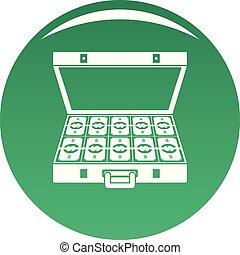 Suitcase money icon vector green