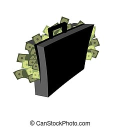 Suitcase of money isolated. Case cash. Vector illustration