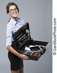 Suitcase of perfect business person