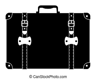 suitcase old retro vintage icon stock vector illustration