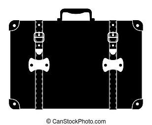 suitcase old retro vintage icon stock vector illustration