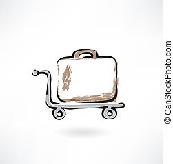 suitcase on wheels grunge icon