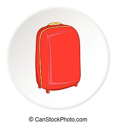 Suitcase on wheels icon, cartoon style