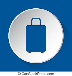 suitcase - simple blue icon on white button