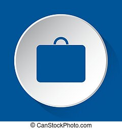 suitcase, simple blue icon on white button