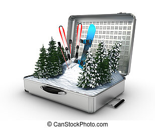 suitcase ski and snowboard with snow inside - 3d render