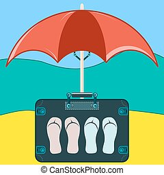 Suitcase to travel with Slippers under a beach umbrella.