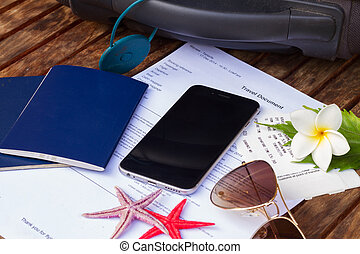 travel documents - suitcase, travel documents with black...