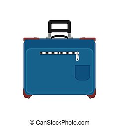 Suitcase travel front view vector icon. Baggage vacation bag...