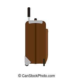 Suitcase travel side view vector icon. Baggage vacation bag...