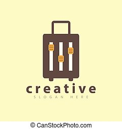 suitcase travel with Music Panel Button logo icon vector