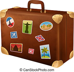 Vector illustration suitcases traveler with stickers