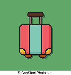 suitcase trolley color line icon