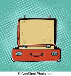 suitcase., turismo, vecchio, aperto, retro, viaggiare