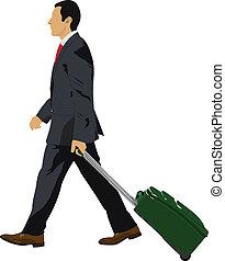 suitcase., vector, hombre de negocios