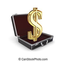 Suitcase with a dollar sign.