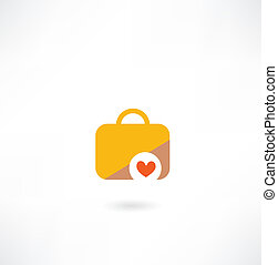 suitcase with a heart icon