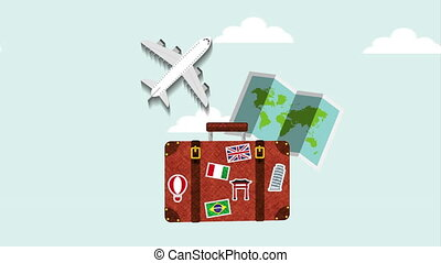suitcase with airplane flying ,hd video animation