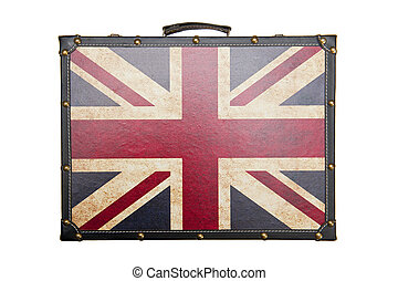 Suitcase with British flag pattern isolated on white