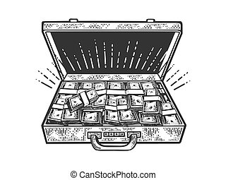 suitcase with cash dollars sketch engraving vector illustration. T-shirt apparel print design. Scratch board imitation. Black and white hand drawn image.