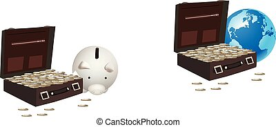 suitcase with currency and piggy bank