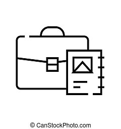Suitcase with documents line icon, concept sign, outline vector illustration, linear symbol.