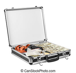 Suitcase with dollars, drugs and arms isolated on  white background.