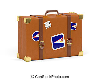 Suitcase with flag of american samoa