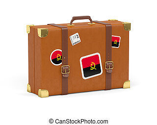 Suitcase with flag of angola