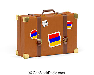 Suitcase with flag of armenia