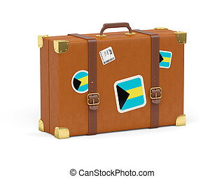 Suitcase with flag of bahamas