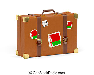 Suitcase with flag of belarus