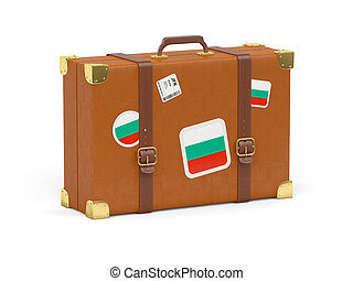 Travel suitcase with flag of bulgaria isolated on white