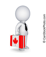 Suitcase with flag of Canada.