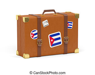 Suitcase with flag of cuba
