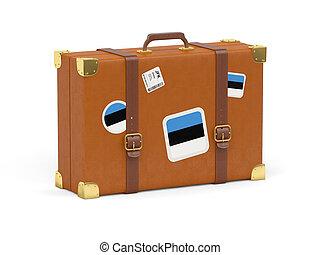 Suitcase with flag of estonia