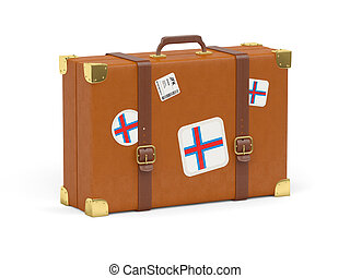 Suitcase with flag of faroe islands