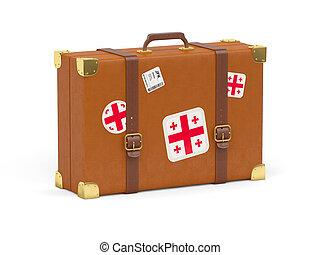 Suitcase with flag of georgia