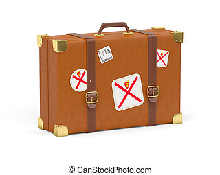 Travel suitcase with flag of jersey isolated on white