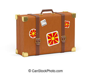 Suitcase with flag of macedonia