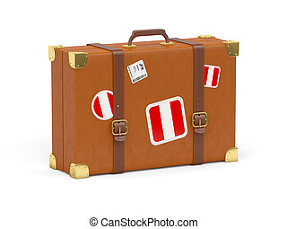 Suitcase with flag of peru